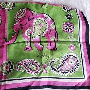100% Silk Vera Bradley Scarf Pink Elephants
